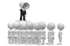 3D businessman with a megaphone, audience. Audience - great for topics like communication, advertisement, announcement etc Stock Photography