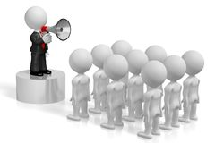 3D businessman with a megaphone, audience. Great for topics like communication, advertisement, announcement etc Stock Images