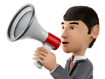 3d Businessman with a megaphone. Business concept. Royalty Free Stock Photos