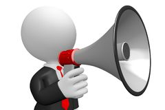 3D businessman with a megaphone. Great for topics like communication, advertisement, announcement etc Stock Photo