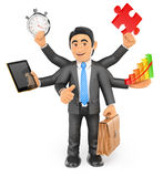 3D Businessman multitasking concept with thumb up Royalty Free Stock Photos