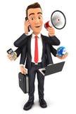 3d businessman multitasking Stock Images