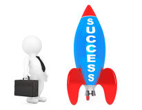 3d Businessman near Rocket with Success Sign. 3d Rendering Stock Images
