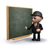 3d Businessman next to blackboard. 3d render of a businessman standing by a chalkboard Stock Photo