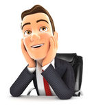 3d businessman at office daydreaming. Illustration with isolated white background Royalty Free Stock Photography