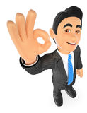 3D Businessman with ok sign in hand Royalty Free Stock Image