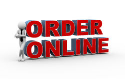 3d businessman online order. 3d rendering of business person with text online order. Concept of online internet purchasing and shopping. 3d white people man Royalty Free Stock Photos