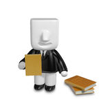 3D Businessman with open the books. 3D Square Man Series. Stock Photos