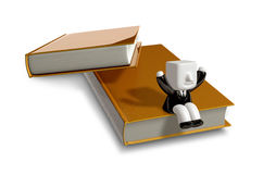 3D Businessman with open the books. 3D Square Man Series. Stock Photo