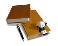 3D Businessman with open the books. 3D Square Man Series. Stock Image