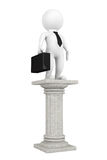 3d businessman over classic column. On a white background Royalty Free Stock Images