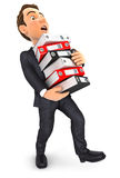 3d businessman overworked. Holding stack of binders,  white background Stock Photography