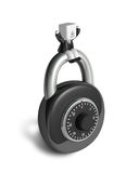 3d Businessman with a padlock. 3D Square Man Series. Royalty Free Stock Photography
