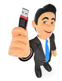3D Businessman with a pen drive. USB stick. 3d business people. Businessman with a pen drive. USB stick. White background Stock Photo