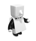 3d businessman People admire advertising. 3D Square Man Series. Royalty Free Stock Images