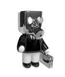3d businessman person in a gas mask. 3D Square Man Series. Royalty Free Stock Image