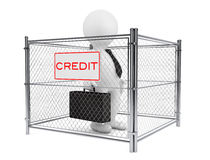 3d Businessman Person inside a Wired Credit Fence. 3d Rendering. 3d Businessman Person inside a Wired Credit Fence on a white background. 3d Rendering Stock Image