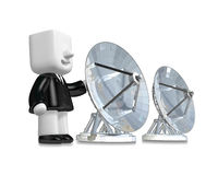 3d Businessman person with a parabolic dish. 3D Square Man Serie Stock Photos
