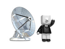 3d Businessman person with a parabolic dish. 3D Square Man Serie Stock Images
