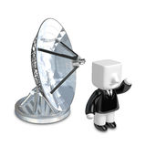 3d Businessman person with a parabolic dish. 3D Square Man Serie Royalty Free Stock Photos