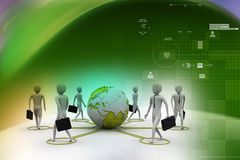 3d businessman persons with Globe Earth Stock Photos