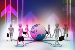 3d businessman persons with Globe Earth Stock Images