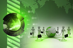 3d businessman persons with Globe Earth. In color background Stock Images