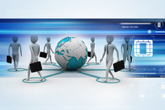 3d businessman persons with Globe Earth Stock Photo