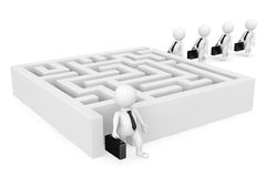 3d businessman persons go to a labyrinth stock images