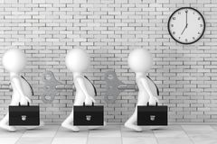 3d Businessman Persons with Old Metal Windup Key in Their Back i. N front of Brick Wall with Modern Clock extreme closeup. 3d Rendering Royalty Free Stock Photography