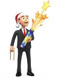 3D businessman with a petard. 3D smiling businessman with a petard Stock Photo