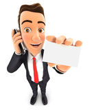 3d businessman on the phone and holds blank card Royalty Free Stock Photos