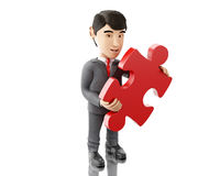 3d Businessman with a piece of puzzle. Business concept. 3d Illustration. Businessman with a piece of puzzle. Business concept. Isolated white background Stock Photo