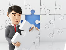 3d Businessman with a piece of puzzle. 3d Illustration. Businessman with a piece of puzzle. Business and success concept. Isolated white background Royalty Free Stock Photography