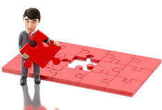 3d Businessman with a piece of puzzle. 3d Illustration. Businessman with a piece of puzzle. Business and success concept.  white background Stock Photo