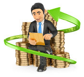 3D Businessman on a pile of coins buying stocks with his tablet. Royalty Free Stock Image