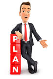 3d businessman plan. 3d businessman leaning against dices with the word plan,  white background Royalty Free Stock Photo