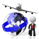 3D businessman, plane traveling. 3D Earth, plane, businessman - great for topics like global business, traveling etc Royalty Free Stock Photos