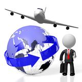 3D businessman, plane traveling. 3D Earth, plane, businessman - great for topics like global business, traveling etc Stock Image