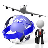 3D businessman, plane traveling Stock Photography