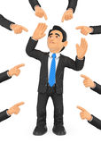 3D Businessman pointed out by many fingers Stock Photo