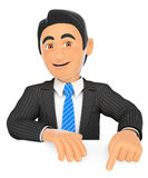 3D Businessman pointing down with finger Stock Images