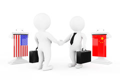 3d Businessman or Politicians Characters Shaking Hands near Trib. Unes with China and USA Flags on a white background. 3d Rendering Royalty Free Stock Photo