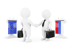3d Businessman or Politicians Characters Shaking Hands near Trib. Unes with Russian and European Union Flags on a white background. 3d Rendering Royalty Free Stock Photography