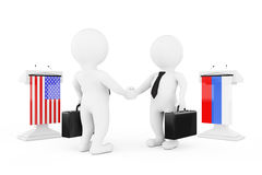 3d Businessman or Politicians Characters Shaking Hands near Trib. Unes with Russian and USA Flags on a white background. 3d Rendering Royalty Free Stock Photo