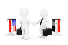 3d Businessman or Politicians Characters Shaking Hands near Trib. Unes with Syria and USA Flags on a white background. 3d Rendering Royalty Free Stock Photography