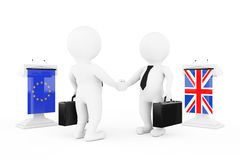 3d Businessman or Politicians Characters Shaking Hands near Trib. Unes with United Kingdom and European Union Flags on a white background. 3d Rendering Royalty Free Stock Photo