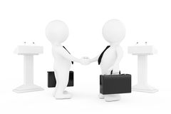3d Businessman or Politicians Characters Shaking Hands near Trib. Unes on a white background. 3d Rendering Royalty Free Stock Images
