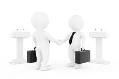 3d Businessman or Politicians Characters Shaking Hands near Trib. Unes on a white background. 3d Rendering Stock Photography