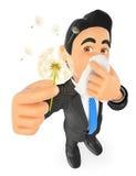 3D Businessman with pollen allergy. 3d business people. Businessman with pollen allergy. Spring. White background Stock Photos